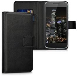 kwmobile Wallet Case Hülle für > Motorola Moto G4 Play < - Cover Flip Tasche mit Kartenfach und Ständerfunktion in Schwarz -