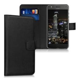 kwmobile Wallet Case Hülle für Motorola Moto Z Play - Cover Flip Tasche mit Kartenfach und Ständerfunktion in Schwarz -