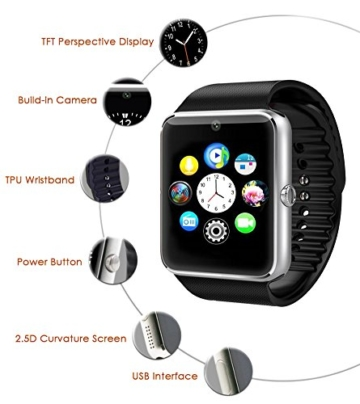 latec bluetooth smart watch armband telefon uhr mit kamera sim micro sd karten slot. Black Bedroom Furniture Sets. Home Design Ideas