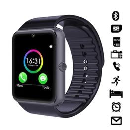 """LaTEC 1.54"""" Bluetooth Smart Watch Armband Telefon Uhr mit Kamera, SIM & Micro-SD Karten-Slot Schrittzähler LCD Touch Screen für Android Smartphones (Schwarz) -"""