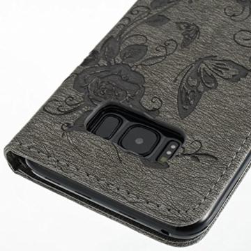 Ledertasche für Galaxy S8, Samsung S8 Handyhülle, Aeeque Elegant Schmetterling Butterfly Bild Flip Case Magnet Kartenhalter Ständer Handschlaufe PU-Leder Full Body Schutz Hülle Tasche Schale for Samsung Galaxy S8 - Grey -