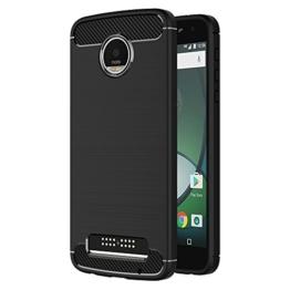 Lenovo Moto Z Play Hülle, AICEK Schwarz Silikon Handyhülle für Moto Z Play Schutzhülle Karbon Optik Soft Case -
