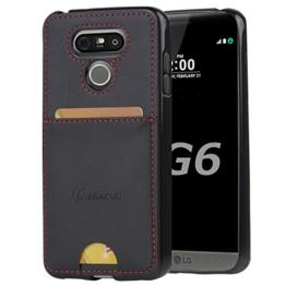 LG G6 Hülle, Abacus24-7 Schwarz Handyhülle mit Schlitz für Kreditkarten, Schutzhülle für LG G6 Smartphone -