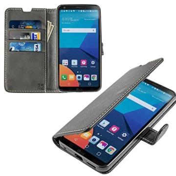 LG G6 Hülle, KingShark [Ständer Funktion] LG G6 Schutzhülle, Premium PU Leder Flip Tasche Case mit Integrierten Kartensteckplätzen und Ständer für LG G6-Leder Serie schwarz -