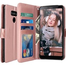 LG G6 Hülle, LK Luxus PU Leder Brieftasche Flip Case Cover Schütz Hülle Abdeckung Ledertasche für LG G6 (Rose Gold) -