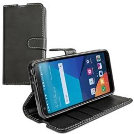 LG G6 Hülle, Profer [Premium Leder Serie] Schutzhülle PU Leder Flip Tasche Case mit Integrierten Kartensteckplätzen und Ständer für LG G6 (Leder-Schwarz) -