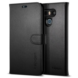 LG G6 Hülle, Spigen® [Wallet S] Praktishe Ledertasche [Schwarz] Integrierter Aufstell Funktion und Portmonee Kartenfach Premium Leder Flip Brief Tasche Schutzhülle für LG G6 Case Cover - Black (A21CS21242) -