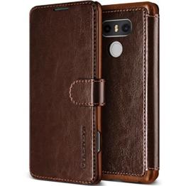 LG G6 Hülle, VRS Design® Leder Schutzhülle [Braun] Schlanke Prämie PU Leder Tasche Stoßsichere Lederhülle Brieftasche Case mit 3 Kartenfach [Layered Dandy] für LG G6 2017 -
