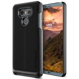 LG G6 Hülle, VRS Design® Leder Schutzhülle [Schwarz] Handytasche Slim Case mit Echt-Leder Außenseite Ledertasche [Simpli Mod] für LG G6 2017 -