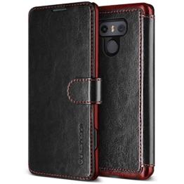 LG G6 Hülle, VRS Design® Leder Schutzhülle [Schwarz] Schlanke Prämie PU Leder Tasche Stoßsichere Lederhülle Brieftasche Case mit 3 Kartenfach [Layered Dandy] für LG G6 2017 -