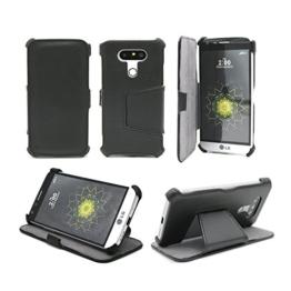 LG G6 Tasche Leder Style schwarz Hülle Cover mit Stand - Zubehör Etui smartphone 2017 LG G6 4G/LTE Flip Case Schutzhülle Ultra Slim (Handy tasche folio PU Leder, Black) - Brand XEPTIO accessoires -