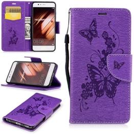 Linvei Wallet Case Hülle für Huawei P10(2017) -(Schmetterling Muster ) PU leder Cover Flip Tasche mit Kartenfach und Ständerfunktion -Lila -