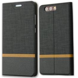 Lively Life Huawei P10 Plus hülle - Premium Luxuriös PU lederhülle[Vollständigen Schutz] [Kreditkartenfach] Folio Flip Brieftasche Schutzhülle im Denim Pattern für Hua Wei P10 Plus(Denim-Schwarz) -