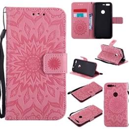 Lonchee Google Pixel Leder Wallet Tasche Brieftasche Schutzhülle , Sonnenblumen geprägten Muster Design Hochwertige PU Leder Folio Tasche Case Hülle im Bookstyle mit Standfunktion Kredit Kartenfächer (rosa) -