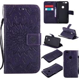 Lonchee Google Pixel Leder Wallet Tasche Brieftasche Schutzhülle , Sonnenblumen geprägten Muster Design Hochwertige PU Leder Folio Tasche Case Hülle im Bookstyle mit Standfunktion Kredit Kartenfächer (lila) -