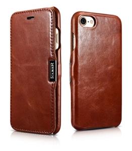 Luxus Tasche für Apple iPhone 7 (4.7 Zoll) / Case mit Echt-Leder Außenseite / Schutz-Hülle seitlich aufklappbar / ultra-slim Cover / Etui mit Textil-Innenseite / Vintage Look / Farbe: Dunkel-Braun -