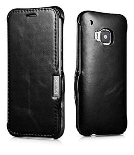 Luxus Tasche für HTC one M9 / Case Außenseite aus Echt-Leder / Innenseite aus Kunstleder / Modell: Luxury / Schutz-Hülle seitlich aufklappbar / ultra-slim Cover / Vintage Look / Farbe: Schwarz -