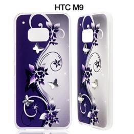 Mavis's Diary Strass Tasche für HTC M9HTC One (M9) Hülle Schutzhülle Bumper Case Cover Blauer Schmetterling Design Hülle Material PC Hervorragend Drucktechnologie und Tasche Handytasche Deckt Etui Full Body Case Handytasche Protector Transparent -