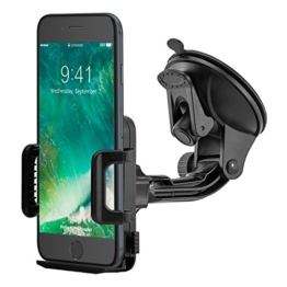 MidGard Saugnapf KFZ Handy Halterung Halter Auto universal (min. 50mm / max. 95mm Breite) Gummierte Klemmbacken für iPhone SE, 5, 5S, 6, 6S, 7, 7 Plus / Galaxy S5, S6, S7, S7 Edge, Note 4, Note Edge / Huawei P8, P9, Lite, Plus / Sony Xperia Z3, Z5, Premium, Compact, XZ, X / HTC M8, M9, M10 und andenre Handy, Smartphone, Phablet, Navigationsgeräte -