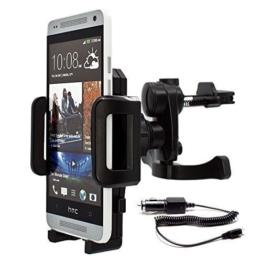 mobilefox® 360° KFZ Lüftungs Halterung Handyhalterung Lüftungsgitter Auto Halterung inkl. KFZ Ladekabel Air Vent Holder Halter für Smartphone HTC One / M9 / M8 / M7 / One Mini / M4 / One mini 2 / One S / One SV / One X / One V / One XL / One MAX (T6) / Desire 500 / Desire 510 / Desire 300 / Desire 310 / Desire C / Desire SV / Desire X -