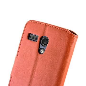Moto G Hülle, JAMMYLIZARD Retro Ledertasche Flip Cover für Motorola Moto G (1. Generation), ORANGE -