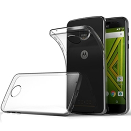 Moto Z Play Hüll Case, Ikupei Crystal Clear Silikon Schutzhülle für Moto Z Play TPU Case Bumper Cover - Transparent -