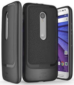 Motorola Moto G 3 Hülle, Vena [vSkin SL] [LEDER] Ultra Slim ShockProof TPU Schutzhülle Case Cover für Motorola Moto G (3. Generation) (Schwarz) -