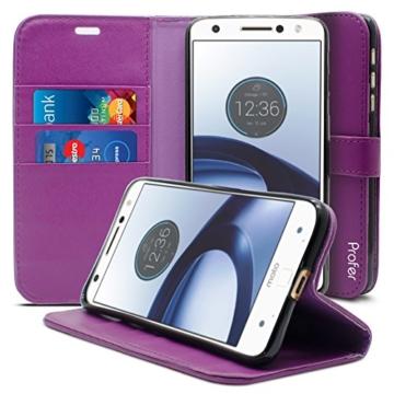 Motorola Moto Z Hülle, Profer [Premium Leder Serie] Schutzhülle Premium PU Leder Flip Tasche Case Cover mit Integrierten Kartensteckplätzen und Ständer für Lenovo Motorola Moto Z (Leder-Lila) -