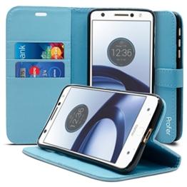 Motorola Moto Z Hülle, Profer [Premium Leder Serie] Schutzhülle Premium PU Leder Flip Tasche Case Cover mit Integrierten Kartensteckplätzen und Ständer für Lenovo Motorola Moto Z (Leder-Blau) -