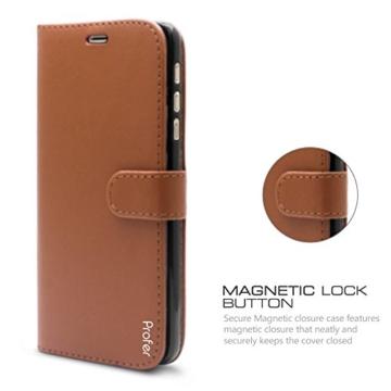 Motorola Moto Z Hülle, Profer [Premium Leder Serie] Schutzhülle Premium PU Leder Flip Tasche Case Cover mit Integrierten Kartensteckplätzen und Ständer für Lenovo Motorola Moto Z (Leder-Braun) -
