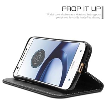 Motorola Moto Z Hülle, Profer [Premium Leder Serie] Schutzhülle PU Leder Flip Tasche mit Integrierten Kartensteckplätzen und Ständer für Lenovo Motorola Moto Z (Leder-Schwarz) -