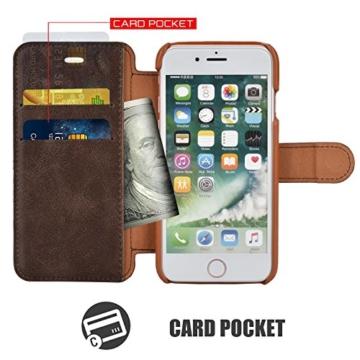 Mulbess iPhone 7 hülle in Kaffee Braun,Ledertasche mit Kartenfach und Magnetverschluss für Apple iPhone 7 (4,7 Zoll) Tasche Leder -