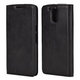 Mulbess Ledertasche im Ständer Book Case für Motorola Moto G4 und Moto G4 Plus Tasche Hülle Leder Etui,Schwarz -
