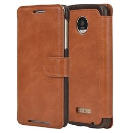 Mulbess Moto Z Hülle Cognac Braun,Handyhülle Lenovo Motorola Moto Z [2016 Model 5.5 Zoll] Ledertasche Schutzhülle im Kartenfach [Lederhülle Tasche Case] -