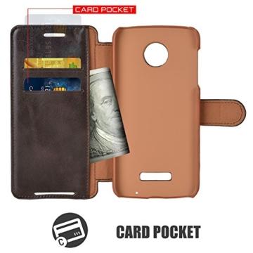 Mulbess Moto Z Hülle Kaffee Braun,Handyhülle Lenovo Motorola Moto Z [2016 Model 5.5 Zoll] Ledertasche Schutzhülle im Kartenfach [Lederhülle Tasche Case] -