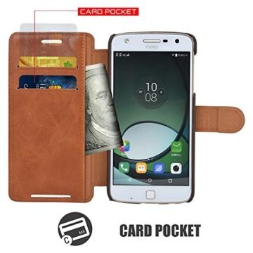 Mulbess Moto Z Play Hülle Cognac Braun,Handyhülle Lenovo Motorola Moto Z Play [2016 Model 5.5 Zoll] Ledertasche Schutzhülle im Kartenfach [Lederhülle Tasche Case] -