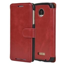 Mulbess Moto Z Play Hülle Wein Rot,Handyhülle Lenovo Motorola Moto Z Play [2016 Model 5.5 Zoll] Ledertasche Schutzhülle im Kartenfach [Lederhülle Tasche Case] -