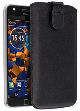 mumbi ECHT Ledertasche Lenovo Moto Z Play Tasche Leder Etui (Lasche mit Rückzugfunktion Ausziehhilfe) -