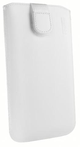 mumbi ECHT Ledertasche Motorola Moto G 2. Generation Tasche Leder Etui weiss (Lasche mit Rückzugfunktion Ausziehhilfe) -