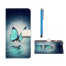 MUTOUREN HTC One M9 Brieftasche Flip Case Cover - PU Leder Bookstyle Klapphülle Wallet Case für HTC One M9 Portemonnaie Hülle Schutz Ultra Dünn Handy Tasche Geldboerse Schutzhülle - Blau Schmetterling + Metall Stylus Pen -