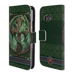 Offizielle Anne Stokes Woodland Guardian Drachen Brieftasche Handyhülle aus Leder für HTC One M9 -