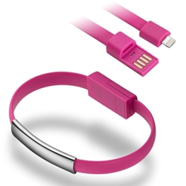 OKCS® Armband Ladekabel Daten Kabel USB für iPhone SE, 6, 6s, 6s Plus, 6 Plus, 5, 5S, 5C / iPad 4, Mini, 2, 3, 5 Air, Air 2 / iPod Touch & Nano - in Pink Rosa -