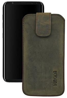 Original Suncase Etui Tasche für Samsung Galaxy S8 | mit ZUSÄTZLICHER Hülle / Schale / Bumper *Lasche mit Rückzugfunktion* Handytasche Ledertasche Schutzhülle Case Hülle in antik-dunkel braun -