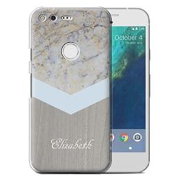"Personalisiert Individuell Holz/Marmor Hülle für Google Pixel (5.0"") / Silber-Chevron Design / Initiale/Name/Text Schutzhülle/Case/Etui -"