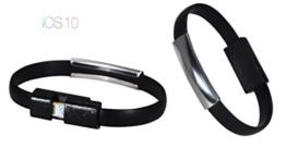 PhoneStar Armband Ladekabel USB Datenkabel 8-pin zu USB in schwarz für iPhone 7, 7 Plus, SE, 6s, 6s Plus, 6, 6 Plus, 5s, 5c, 5, iPad Pro, Air 1-2, Mini, iPod in schwarz -