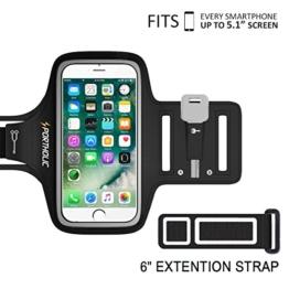 PORTHILIC Wasserfestes Sport-Armband iPhone,Android–LEBENSLANGE GEWÄHRLEISTUNG – Mit Schlüsselhalter, Kabelfach, Kartenhalter für iPhone 7/6/6S,Galaxy S7/S6/S5,iPhone 5/5S/SE bis 5.1 Inch (Schwarz+) -