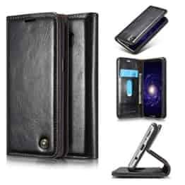 Roreikes Samsung Galaxy S8 Hülle, Galaxy S8 (5,8 Zoll) Case, Premium PU Leder Folio Flip Case mit Card Slot Kickstand Magnetic Wallet Case für Samsung Galaxy S8 (5,8 Zoll) - Schwarz -