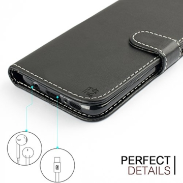 Samsung Galaxy S8 Hülle, KingShark [Ständer Funktion] Samsung Galaxy S8 Schutzhülle, Premium PU Leder Flip Tasche Case mit Integrierten Kartensteckplätzen und Ständer für Samsung Galaxy S8-Leder Serie schwarz -