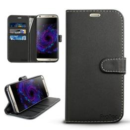 Samsung Galaxy S8 Hülle, Profer [Premium Leder Serie] Schutzhülle PU Leder Flip Tasche Case mit Integrierten Kartensteckplätzen und Ständer für Samsung Galaxy S8 (Leder-Schwarz) -