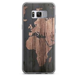 Samsung Galaxy S8 Hülle Silikon Case Schutz Cover Weltkarte Holz Erde -